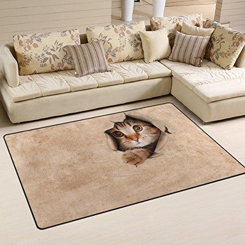バララ(La Rose) ラグ カーペット マット 洗える おしゃれ 滑り止め 絨毯 ネコ 猫柄 ホットカーペット ウォッシャブル 心地よいサラふわ触感 折り畳み可 床暖房 対応 約幅152x99cm