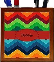 Rikki Knight Debbie Name on Fall Colors Chunky Chevron Design 5-Inch Tile Wooden Tile Pen Holder (RK-PH45261) [並行輸入品]