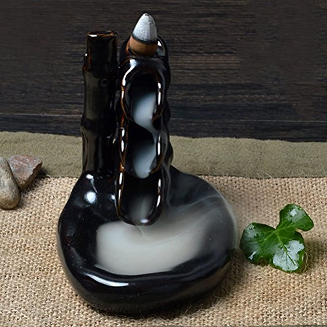 日記性差別試みRosenice 香炉お香バーナー セラミック釉線香煙逆流タワー ホルダー