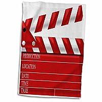 3dローズAnne Marie Baugh–Theater–ムービーClapボードIllustration inレッドandホワイト–タオル 15x22 Hand Towel twl_222696_1