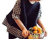 (キュアキュア) CURECURE キッズ ガールズ ギンガム チェック ニット トップス 重ね着 風 コットン 千鳥 格子 柄 カットソー チュニック 子供服 150 黒色