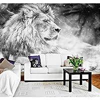 Ansyny カスタム壁紙壁画黒白い風のライオンのテレビの背景モダンなシンプルな背景壁の壁画写真の3D壁紙-160X120CM