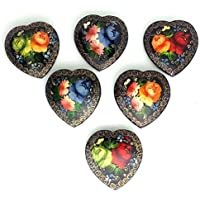 1 (one) Russian hand painted Pin Brooch Flowers Heart shape lacquered, Valentine gift by BuyRussianGifts [並行輸入品]
