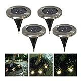 埋め込み式 LEDソーラーガーデンライト 4個セット 屋外照明/エクステリアライト (昼白色)