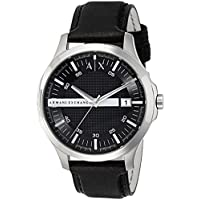 Armani Exchange Black Stainless Steel & Leather Watch AX2101