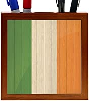 Rikki Knight Ireland Flag on Distressed Wood Design 5-Inch Wooden Tile Pen Holder (RK-PH8586) [並行輸入品]