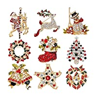 Semoic 9個多色クリスマスブローチピンセットクリスマス装飾ジュエリーギフト