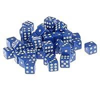 約50個 12mm 六面 サイコロ パーティー ゲーム ダイス 全6色 - ブルー