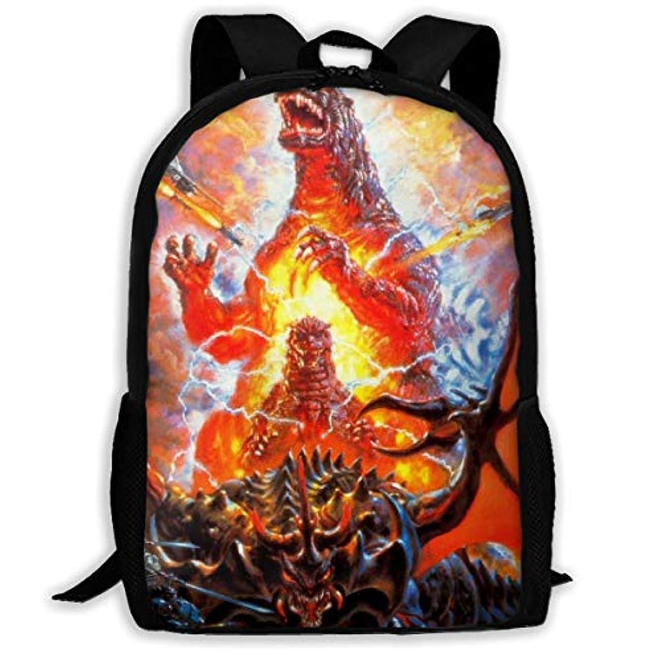 分数シルク適応するカンナ インディーダ ゴジラ Godzilla バッグ 鞄 リュック バックパック リュックサック 背負う 通学 通勤 遠足 アウトドア ファッション 個性的 双肩バッグ スクエアリュック 多機能 大容量