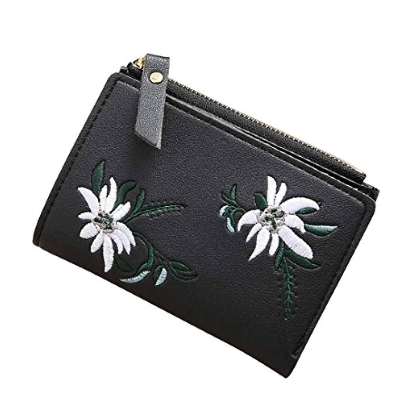 chainsee刺繍柄ショートウォレットレザークラッチコイン財布カードホルダー入れの女性ガールズ 12.5cm*9cm P01