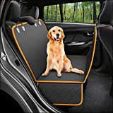 CREUSA® Pets Dog Back Seat Cover, Scratchproof Waterproof Dog Car Seat Covers Hammock Nonslip Durable Soft Backseat Protection Against Dirt and Pet Fur for Cars, Trucks and SUVs (Black)