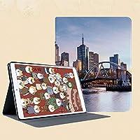 個性的 IPad Mini 1/2/3ケース Apple IPad Mini 1/2/3 用カバー 合成皮革 折り畳み ケース【マルチアングルスタンド 、インテリジェント休眠機能付き】オーストラリアのメルボルンでの早朝の風景