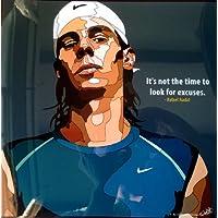 ラファエル?ナダル 海外製 テニスグラフィックアートパネル 木製ポスター インテリア
