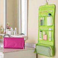 キャンバス壁掛けぶら下げ折りたたみ洗浄入場パッケージ化粧品収納袋64.5*26センチA01-3-red