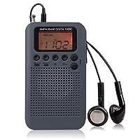 AM FM ポケット ラジオ LCD液晶ディスプレー ポータブル ラジオ デジタル チューニング ローク機能搭載 AM/FM ステレオ ラジオ 充電式 バッテリー イヤホン