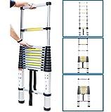 IntiPal 伸縮はしご アルミ ハシゴ 最長3.8m 伸縮梯子 耐荷重150kg スーパーラダー コンパクト 持ち運びやすい 伸縮自在 自動ロック スライド式 【日本語説明書付き】
