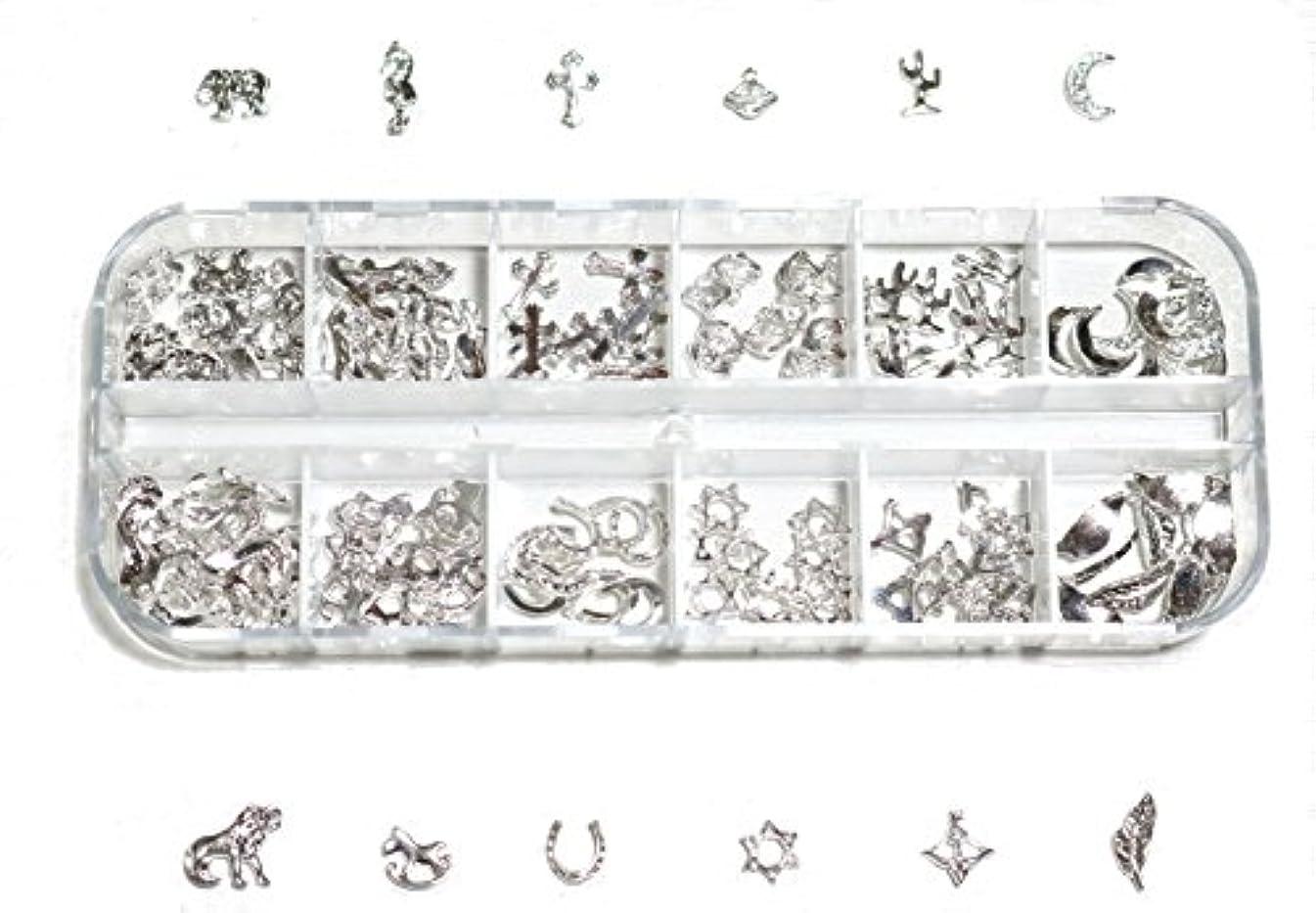 ファランクス許可する立ち寄る【jewel】 ゴールドorシルバー メタルパーツ 12種類 各10個入り カラー選択可能☆ (シルバー)