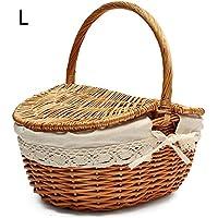 バスケット 手作り 収納バスケット ピクニックバスケット ショッピング ストレージ 木製 お菓子や果物や本収納かご 多用途 利便性最高 かわいい