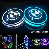 YenCar 車用 LED ドリンクホルダー レインボーコースター 車載 ロゴ ディスプレイライト LEDカーカップホルダー マットパッド (BMW)