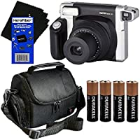 Fujifilm INSTAX 300 Wide-Format Instant Photo Film Camera (Black/Silver) + Well Padded Camera Case + 4 AA Alkaline Batteries + HeroFiber Ultra Gentle Cleaning Cloth