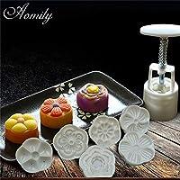 Aomily 6スタンプフラワームーンケーキ金型中国中秋節金型セットハンドプレスプランジャDIYベーキング装飾ツールギフト