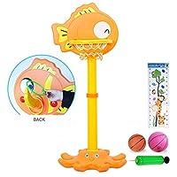 ミニ バスケットゴール バスケットボールセット 子供用 ボールスタンド 高さ調節可能 二つボール付き 室内屋外兼用,Orange
