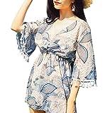 (ヒルトップクラウド) HILLTOPTOCLOUD タンキニ レディース 水着 3点セット セパレーツ ビキニ 可愛い 体型カバー 葉の柄 女性水着 パット付き ワイヤーなし