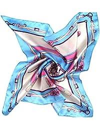 Tinkskyレディースハンカチハンカチフローラルシルクハンカチ小さな正方形ハンカチ