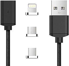 TOMSMOO第四世代 ナイロンメッシュ編 マグネット式 充電ケーブル 高耐久 データ通信可能 IOS/lightning/iPhone/iPad/Android/Type-C/USB-C対応 (ブラック 1M)