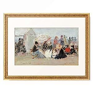 ウジェーヌ・ブーダン Eugène-Louis Boudin 「Crinolines sur la plage, Trouville.」 額装アート作品