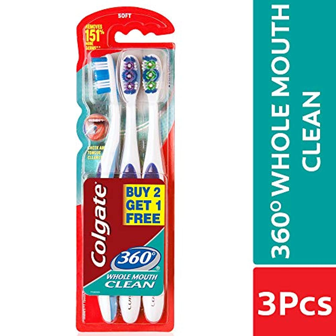 ヘルメット不公平ツーリストColgate 360 whole mouth clean (MEDIUM) toothbrush (3pc pack)