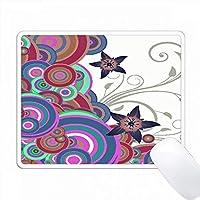紫色、ピンク色、青色の重なり合いの円に星の花が付いています PC Mouse Pad パソコン マウスパッド