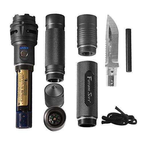 防水携帯型戦術的な懐中電灯 緊急救助と自己防衛のナイフ LEDで電気量を表示する  屋外キャンプ、ハイ...