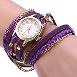 ZooooM ブレスレット アンクレット バングル 風 デザイン ウォッチ 腕時計 ファッション アクセサリー カジュアル ユニーク オシャレ アナログ レディース 女性 ( パープル ) ZM-WATCH626-PP
