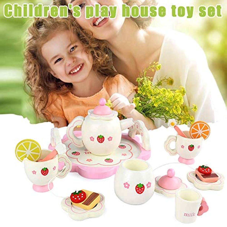 テンポ適度な電球木製ミニティーセットおもちゃカップティーポットトレイ用子供キッズキッチンロールプレイングゲーム