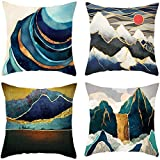 Small hill and sun Cotton Linen Throw Pillow Case Cushion Cover Home Sofa Decorative 18 X 18 Inch