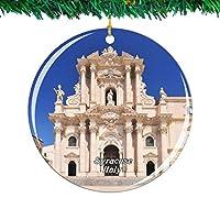 Weekino イタリアシラキュース大聖堂シチリア島クリスマスオーナメントシティ旅行お土産コレクション両面 磁器2.85インチ ぶら下がっている木の装飾