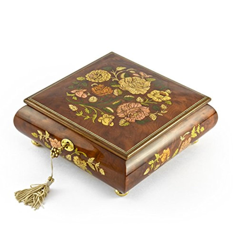ゴージャスな18 Note Spring Roses Inlay Musical Jewelry Box withロックとキー 54. Blue Hawaii (L Robins) ブラウン MBA207-GA-ROSES-18NOTE