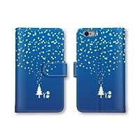 【ノーブランド品】 AQUOS PHONE EX SH-02F スマホケース 手帳型 ツリー 雪 スノー トナカイ ブルー 青 かわいい おしゃれ 携帯カバー SH-02F ケース アクオスフォン