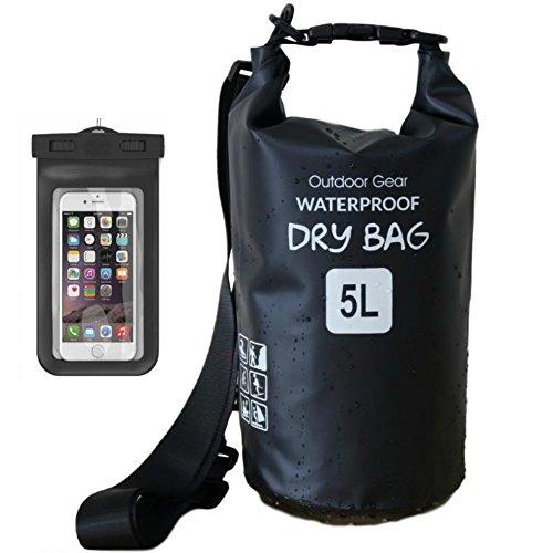 笑顔一番 新素材 防水バッグ ドライバッグ ドラム型 防水ポーチ付 5L 10L 20L 30L (1) ブラック, 10L