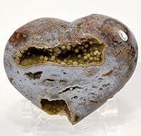 """hqrp-crystal 3.4"""" RareオーシャンジャスパーPuffy HeartナチュラルイエローDruzyクリスタルマルチカラーOrbicular Orbs Sparkling Mineral Polished Loveストーンハート–マダガスカル+アクリルディスプレイスタンド"""