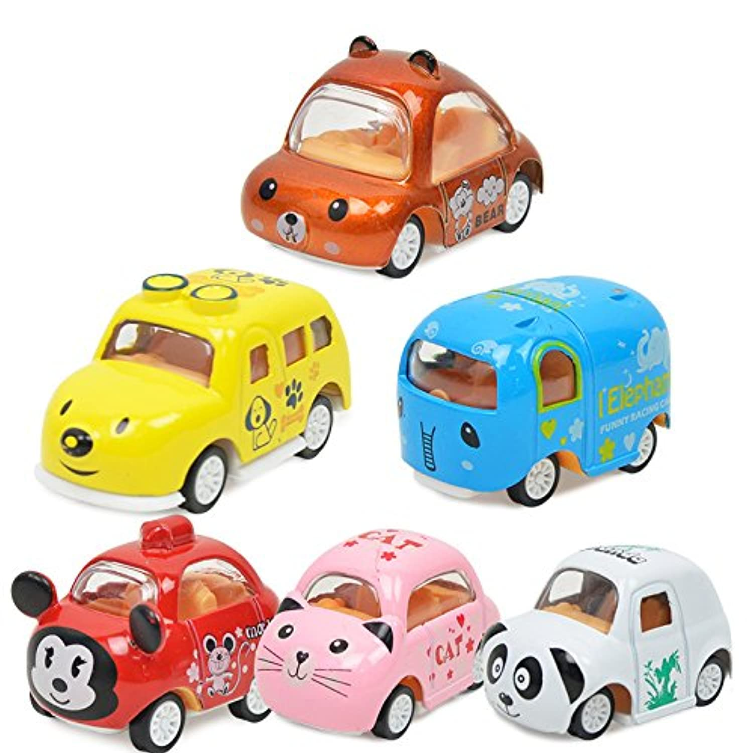 xieccx Pull Back Cars Toy – 6 Pack Assorted Mini Pull Back Cars、合金ダイキャストVehicles Playset、カートン動物MiniトラックToy, Pull Back and Go car toy play set for kids