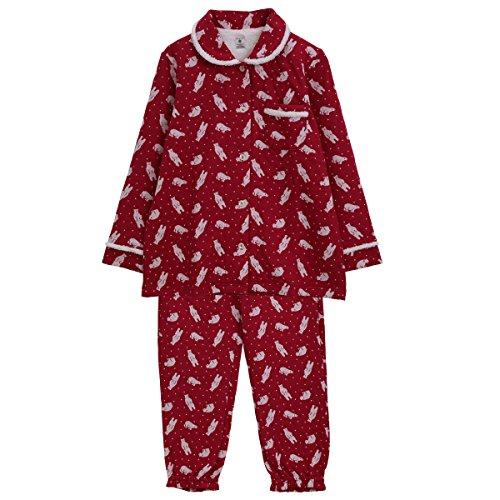 (ナルエー) narue パジャマ 接結 くま ジャカード ルームウェア シャツ パジャマ セット(RE-レッド、M-L)