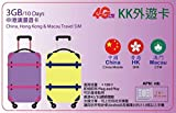 【KK】中国 香港 澳門 3ヶ国 4G-LTE/3G 10日間 3GB データ通信 プリペイドSIMカード Travel SIM Card 外遊カード