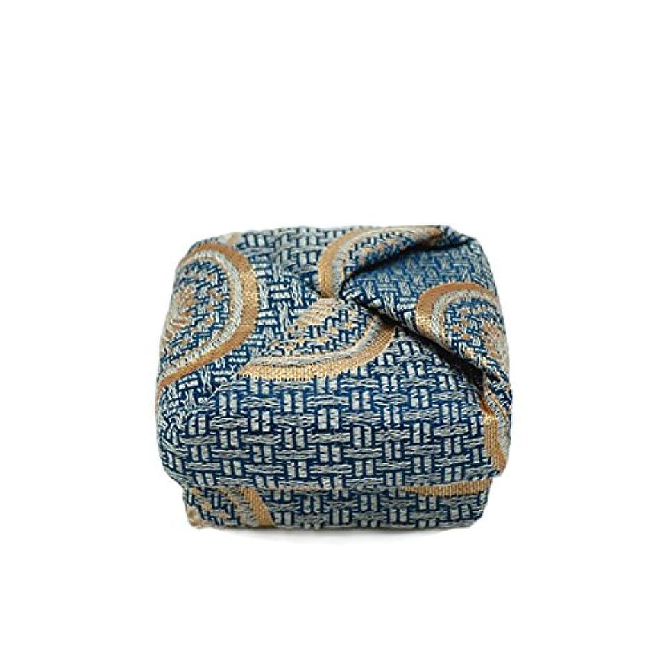 の配列通貨影のある布香合‐角‐ 紙箱入 糸屋輪宝手 紺