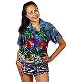 V.H.O Funky Hawaiian Shirt Blouse Women Short-Sleeve Front-Pocket Parrot Palms Summer Grey