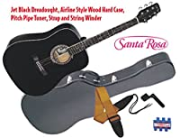 Santa Rosa Full Size Western All Black Dreadnought Guitar with Wood Case アコースティックギター アコギ ギター (並行輸入)