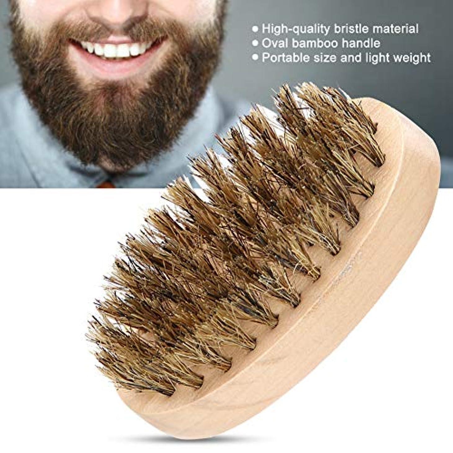 きらめく船尾適合しました柔らかいひげのブラシ 男性の柔らかい毛のComの櫛の楕円形のタケハンドルのひげの形成用具