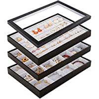 Mebbay Stackable Velvet Jewelry Trays Organizer Set with Clear Lid, Jewelry Storage Display Trays with Full Artificial Leather Cover for Drawer, Earring Necklace Bracelet Ring Organizer - Set of 4