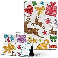 igcase d-01J dtab Compact Huawei ファーウェイ タブレット 手帳型 タブレットケース タブレットカバー カバー レザー ケース 手帳タイプ フリップ ダイアリー 二つ折り 直接貼り付けタイプ 005540 ユニーク 冬 イラスト クリスマス